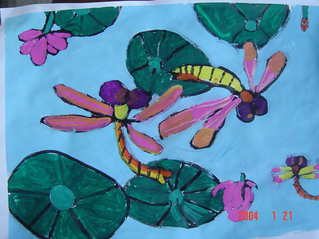 水粉画,春天的蜻蜓