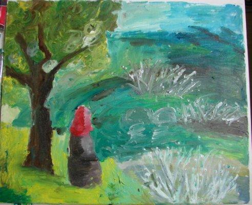今天上午,我去阿特米罗,画完了那幅油画《风景》.
